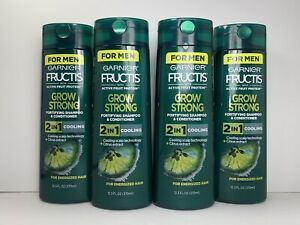 4 Garnier Fructis for Men 2-in-1 Fortifying Shampoo & Conditioner, Grow Strong