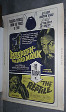 RASPUTIN THE MAD MONK/THE REPTILE orig HAMMER 30x40 movie poster CHRISTOPHER LEE