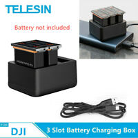TELESIN 3 Slot Battery Fast Charger With TYPE-C Cable For DJI Osmo Action Camera