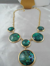 "NWT MONET GOLD with GREEN MOTHER of PEARL look ""Y"" STATEMENT NECKLACE, Signed"