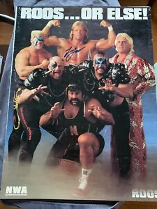 NWA Roos Poster Signed Ric Flair Sting Lex Luger Road Warriors Rick Steiner WCW