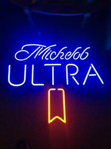 """New Michelob Ultra 14""""x14"""" Real Glass Neon Sign Lamp Light Bar With Dimmer"""