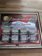 Budweiser Beer Mlb Baseball American Traditions Mirror Sign Bar Advertising