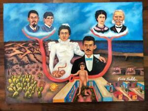 Frida Kahlo oil on canvas signed & stamped framed VTG ART