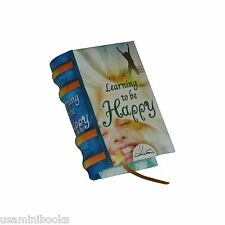 """New Miniature Hardbound Book Learning to Be Happy English Illustrated 1.4"""" tall"""