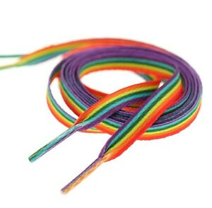 Pride Multi Coloured Rainbow Laces Gay Flat 10mm Shoes Trainers LGBTQ - 80cm Uk