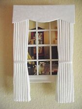 MINIATURE DOLL HOUSE  FURNITURE CURTAINS DRAPES IVORY VINE 7 1/2 IN LONG