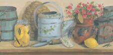 Wallpaper Border Country Potting Shelf with Watercans and Flowers