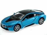 Kinsmart BMW i8 2 Door Coupe 1:36 Diecast Model Toy Car Pull Action New- Blue