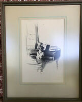 Antique Original Margery Ryerson, Musical Moment, Limited Lithograph Print Piano