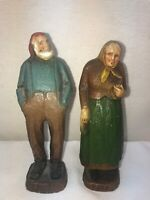 Vtg PAIR 1940-50's? Burwood OLD MAN BABUSKA WOMAN COUPLE Figurines
