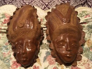 Vintage Leather Face Mask Set Life Size Hand Crafted Wall Art, Male & Female