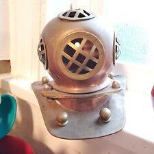 Copper & Brass Mini Deep Sea DIVER'S HELMET Tabletop Decor Replica Dive Navy