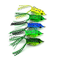 5 x Fishing Lure Tackle Soft Frog Bait Double Hooks Topwater Crankbait Bass #20