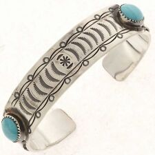 Navajo Sterling Silver Turquoise Cuff Bracelet s8-8.5 Matthew McConaughey Style