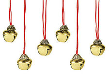 Jingle Bell Necklace 1 inch Bell on Satin Cord Holiday Jewelry Lot of 6