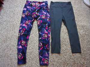 Lot of 2~Athletic Works Skinny Yoga Pants~1 Gray Crop~1 Purple Floral~Size M~EUC