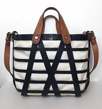 MONCLER Navy Striped Open Powder Tote Bag w Tan Leather Handles   Shoulder  Strap a52473399fa36
