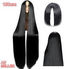 150cm Long Straight Full Hair Wigs Black  Wig Cosplay Costume Women Halloween Ex