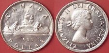 Brilliant Uncirculated 1953 Canada Shoulder Fold Silver 1 Dollar