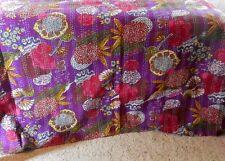 King Purple tropical Quilt.  Kantha Bedspread, Cotton Comforter Summer Bedding