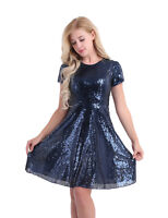 Womens Sequin Formal Evening Party Cocktail Bridesmaid Prom Gown A-Line Dress