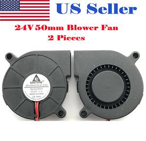 2Pcs  24V DC50mm Blowers Cooling Fan 5015 Hotend Extruder For RepRap 3D Printer