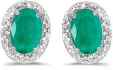 14k White Gold Oval Emerald And Diamond Earrings (CM-E2615XW-05)