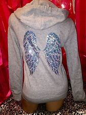 Victorias Secret Supermodel Sequin Angel Wings Hoodie Light Gray Large