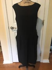 New Magaschoni Collection Women's Wool Black Dress Size With Pockets 12 NWT
