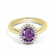 Engagement Round Amethyst Yellow Gold Fine Rings