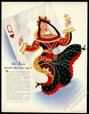 1942 Queen of Hearts playing cart art Johnson's Wax vintage print ad