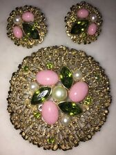 Exquisite Vtg Sarah Cov Brooch Lapel Pin Clip On Earrings Green Pink Embellished