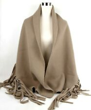 $795 Burberry Camel Solid Felted Fringe Wool/Cashmere Scarf Shawl 3995022