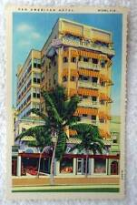 LINEN POSTCARD PAN AMERICAN HOTEL MIAMI FLORIDA #X8