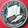 1969 ANGUILLA $2 SILVER PROOF FLAG MAP DOLPHIN / REVERSE SLIGHT SHIFTING ERROR!