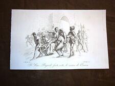 Incisione rame del 1851 Il cavaliere Pierre Terrail de Bayard ferito a Brescia