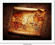Old Treasure Map On Grunge Art/Canvas Print. Poster, Wall Art, Home Decor