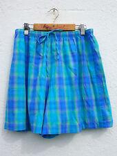 Vintage 90s Aqua Blue Lilac Check Print High Waisted Culottes Shorts 10-12