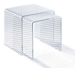 Beistelltisch groß - aus Satztisch - Acrylglas - klar - Siebdruck schwarz -  R2