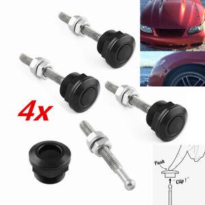 "7/8"" Mini Race Car Bumper Hood Latch Rod Kit Black CNC Quick Disconnect Lock 4x"
