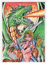 2014 BRAIIINZ Beauty & the Myth Norvien Basio 1/1 Sketch Card DRAGON MYTHOLOGY