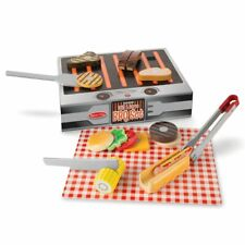 Melissa & Doug Grill and Serve BBQ Set (20 pcs) - Wooden Play Food and Access...