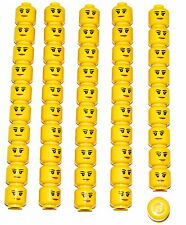 LEGO LOT OF 50 NEW FEMALE MINIFIGURE HEADS GIRLS FACES WITH SMILE TOWN CITY
