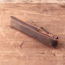 Handmade Retro Genuine Leather Long Pen Bag Zipper Pencil Pen Case Brush Holder