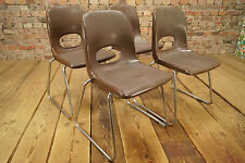 4x VINTAGE STAPELSTUHL SÜHLE Space Age STUHL Stacking Chairs CASALA Stahl-Color