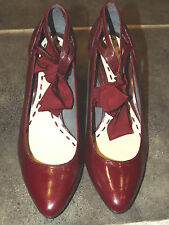 """LADIES NEW RAVEL RED PATENT LEATHER FRONT TIE BOW 3"""" HEEL SHOES UK 5 EUR 38"""