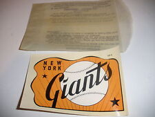 RARE 1950`s VINTAGE NEW YORK GIANTS BASEBALL SOUVENIR DECAL LABEL ORIGINAL