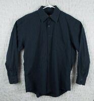 Men's Blue Striped Pronto Uomo Long Sleeve Shirt Size Large