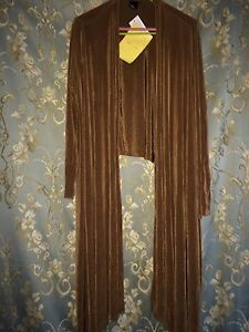 Citiknits Slinky Travelers Solid Brown Stretch Open Duster Jacket XL Cardigan